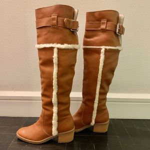 Michael Kors Over the Knee Leather Shearling Boots